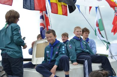 1st Hertford Scouts on their international boat (photo Steve Beeston)