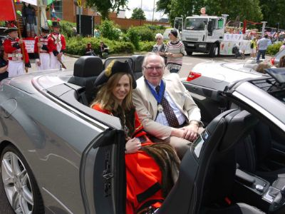 The Mayor, Cllr Jane Sartin, with her consort, her father (photo by Mercedes Benz's Trevor Jamieson)