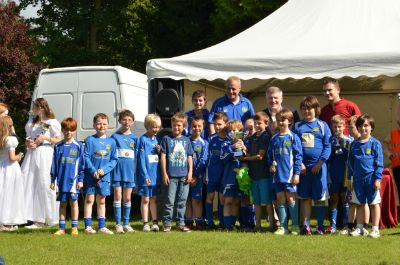 Hertford Town Youth FC receiving their award in the arena (photo Steve Beeston)