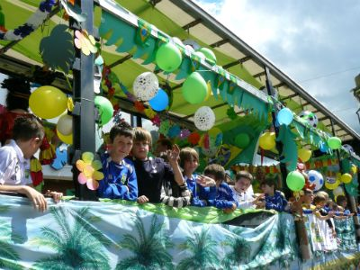 Hertford Town Youth FC's colourful float, representing Brazil (photo David James)